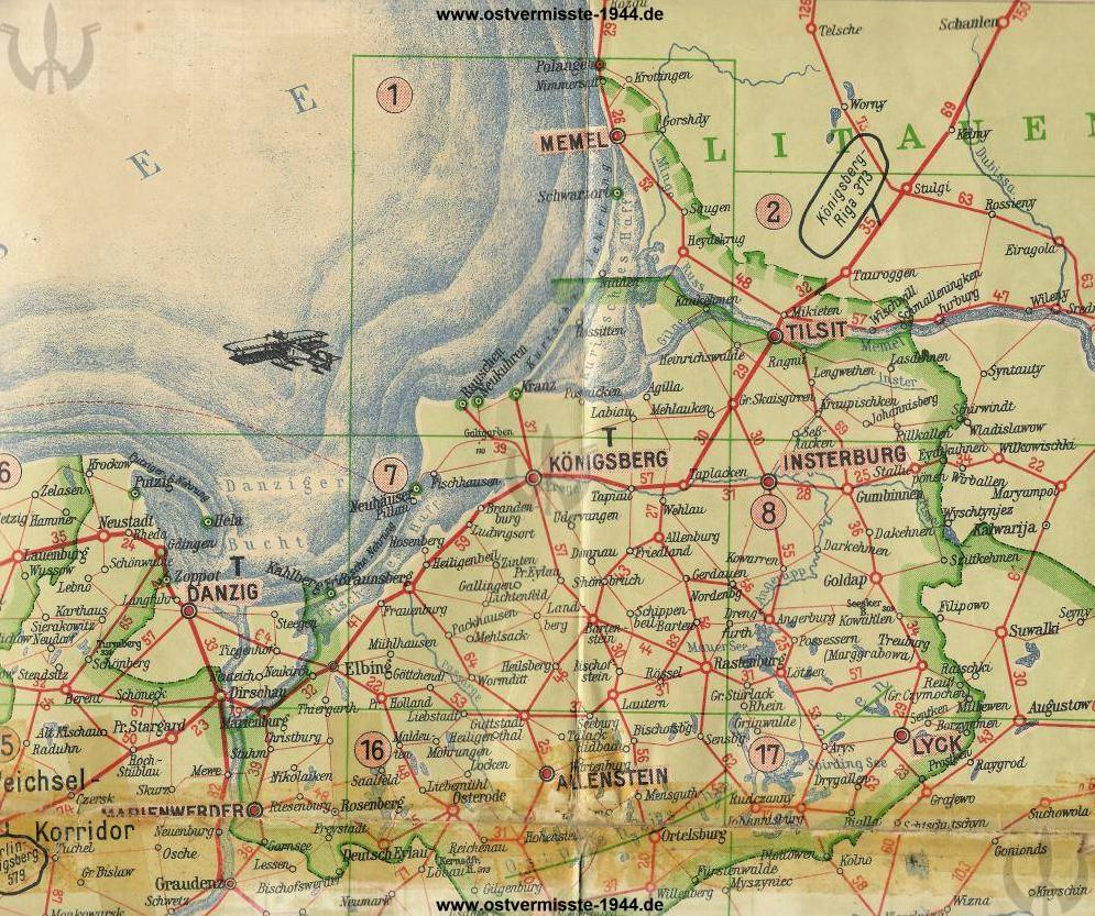 Karte Ostpreußen 1944